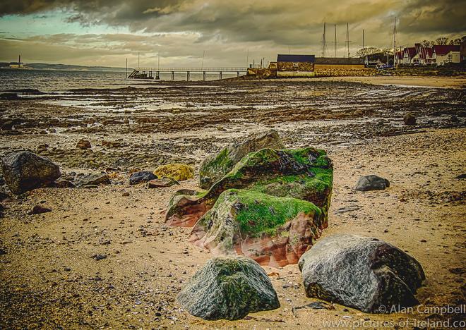 Green Rocks Pier Beach Sky Pictures Irish Landscape